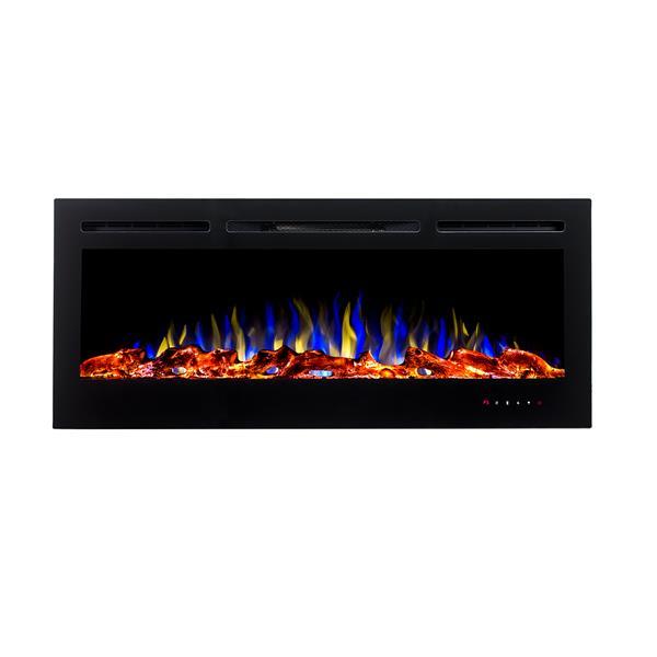 """Foyer électrique encastré à DEL Flamehaus(MD), 45"""", noir"""
