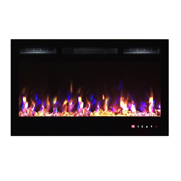 """Flamehaus® Electric LED Fireplace Insert - 36""""- Black"""
