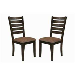 Collection Bourbon Street Berkshires Wood and Fabric Dining Chair - Brown -Set of 2