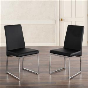 Collection Bourbon Street Jake Faux Leather and Chrome Side Chairs - Black -Set of 2