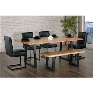 """Table salle à manger Kiel,  bois d'acacia/métal noir, 79"""""""
