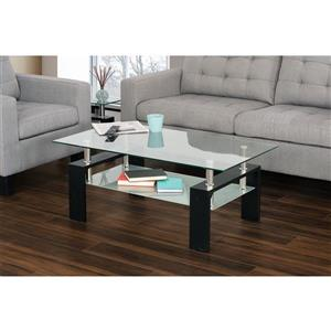 "Collection Bourbon Street Cherry  Glass Top Coffee Table - 43"" x 23"""