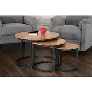 Collection Bourbon Street Trinity Acacia Wood and Iron Nesting Table - Set of 3