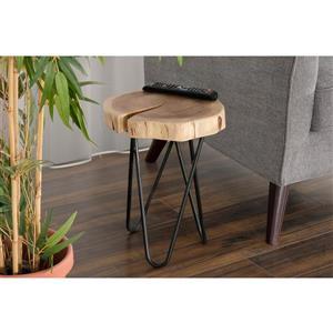 Table d'appoint Mina en bois d'acacia et fer