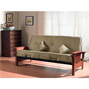 Collection Bourbon Street Indie Wood Futon with Pocket Coil Mattress, green velvet