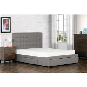 Collection Bourbon Street Quinton Upholstered Storage Bed - Grey - Queen