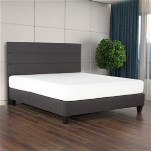 Tête et base de lit Tate, tissu charbon, très grand lit