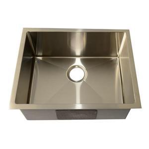 Évier sous plan de cuisine simple, carré, acier inoxydable