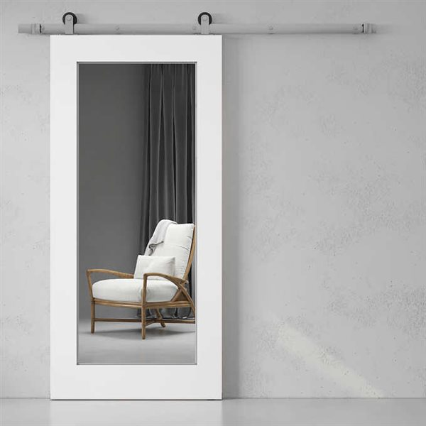 Urban Woodcraft Stillwater Sliding Barn Door with Hardware- Mirror/Pine - White- 40-in