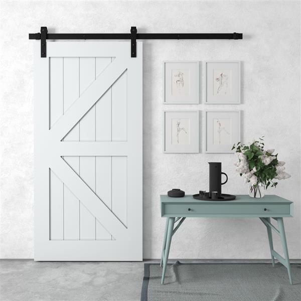 Urban Woodcraft Manhattan Sliding Barn Door with Hardware- Grey - 40-in x 83-in