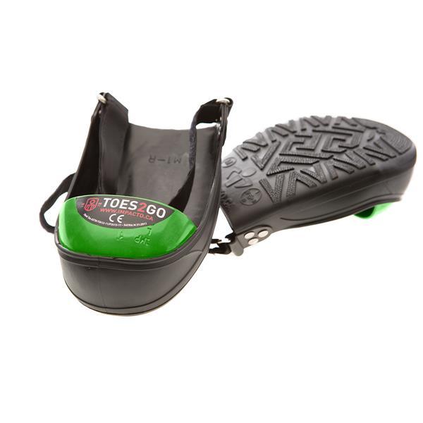 Impacto Toes2Go Steel Toe Cap - Black/Green - Large shoe M13-16