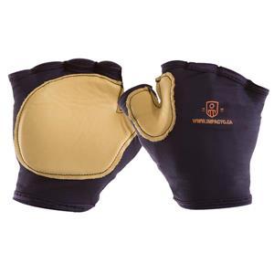 IMPACTO Finger Less Anti-Impact Glove - Nylon/leather palm -Small