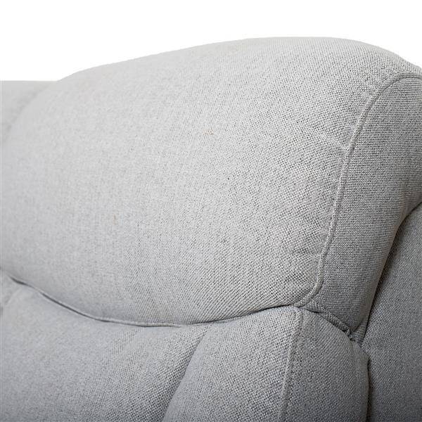 FAMV Geneva Reclining Sofa - Light Grey Fabric - 3-Place
