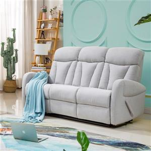 FAMV Geneva Reclining Sofa - Light Grey Fabric - 3-Place