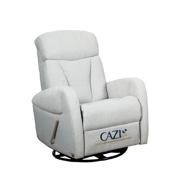FAMV Geneva Swivel and Reclining Armchair - Light Grey Fabric