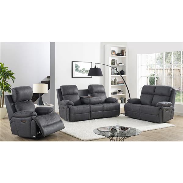 FAMV New York Reclining Sofa - Motorized - 3-Places - Grey