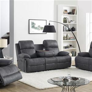 Sofa électrique inclinable New York, 3 places, gris