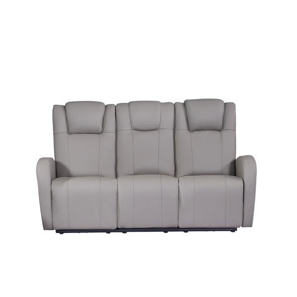 FAMV Marseille Reclining Sofa - Motorized - USB Ports - Grey