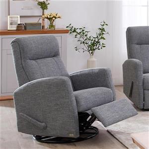 FAMV Paris Reclining Armchair with Modern Curves - Grey Fabric