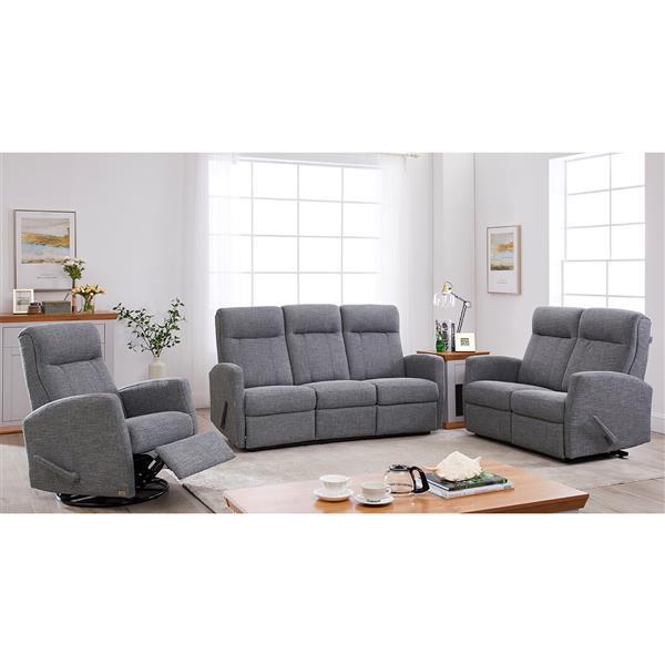 FAMV Paris Reclining Sofa with Modern Curves - 3-Place - Grey