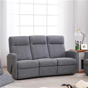 FAMV Paris Reclining Sofa with Modern Curves - 3-Place - Grey