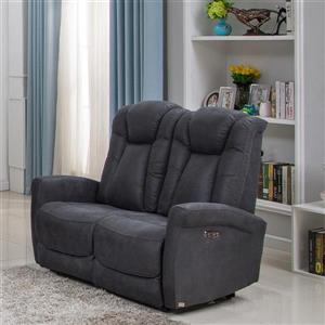 FAMV Limoge Power Reclining Loveseat - USB Port - Grey