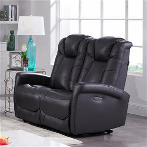FAMV Limoge Electric Loveseat - Motorized Headrest - Dark Grey