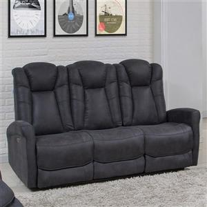 FAMV Limoge Reclining Sofa Motorized - 3-Place - Grey