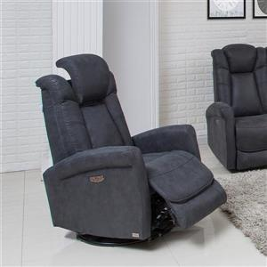 FAMV Limoge Swivel Rocker Recliner Armchair - Electric - Grey