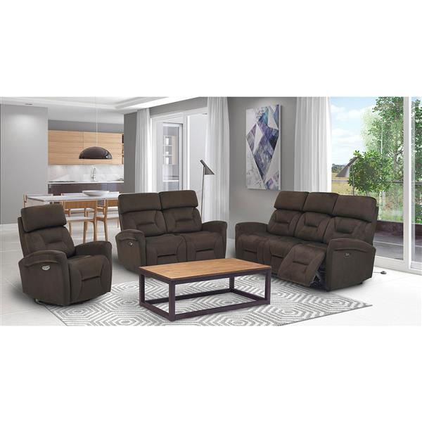FAMV Barcelona Electric Recliner Loveseat - USB Ports - Brown