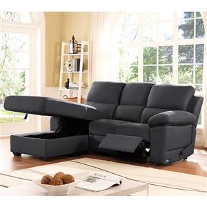 Ottawa Recliner Sectional with Storage - Left -Charcoal