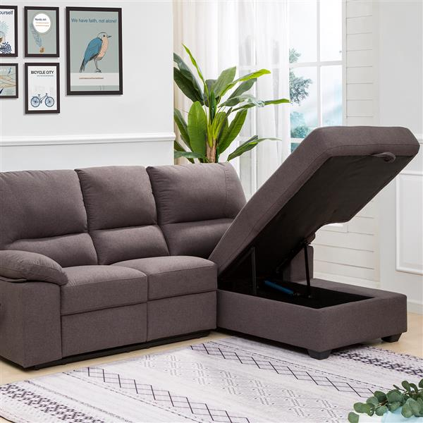 FAMV Victoria Recliner Sectional with Storage - Right - Grey