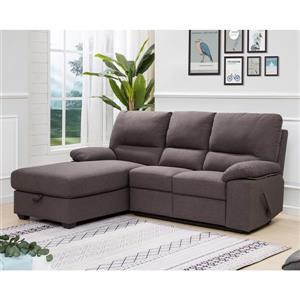 FAMV Victoria Recliner Sectional with Storage - Left - Grey