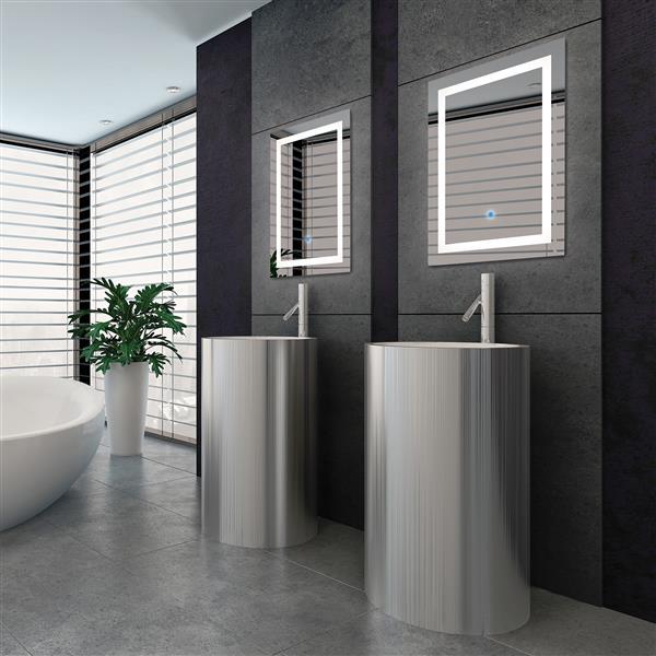 "Miroir avec éclairage DEL Portofino, rectangulaire, 24""x 32"""