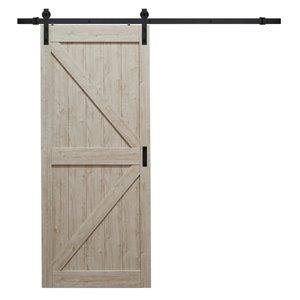 "ReliaBilt Silver Oak K Design Rustic Pre-Drilled Barn Door Slab - 42"""