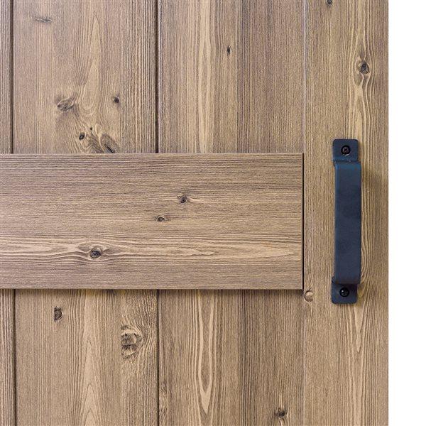 ReliaBilt Gunstock Oak K Design Sliding Barn Door w/ Hardware Kit - 36-in x 84-in