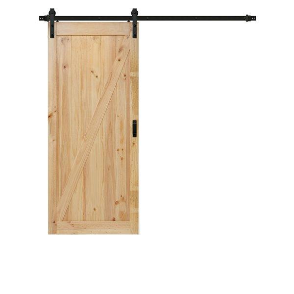 ReliaBilt Pine Z Design Sliding Barn Door w/ Hardware Kit - 42-in x 84-in