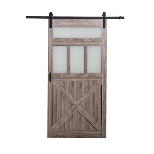 ReliaBilt Bar Door Hardware Kit - 3 Frosted Glass - Silver Oak - 42-in