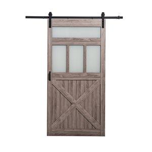 "ReliaBilt Bar Door Hardware Kit - 3 Frosted Glass - Silver Oak - 42"""