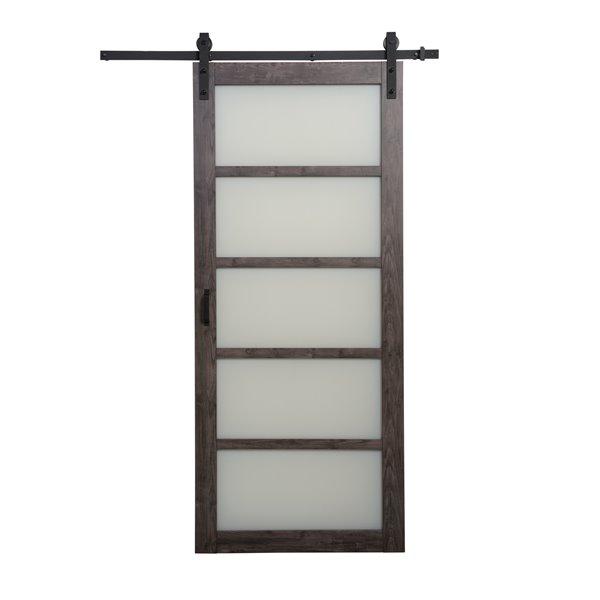 ReliaBilt 5 Lite Design Sliding Barn Door with Hardware - 36-in x 84-in