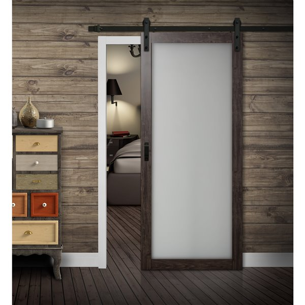 ReliaBilt 1 Lite Frosted Glass Sliding Barn Door - Hardware Kit - Grey - 36-in