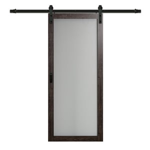 ReliaBilt 1 Lite Frosted Glass Barn Door - Hardware Kit - Grey - 36""