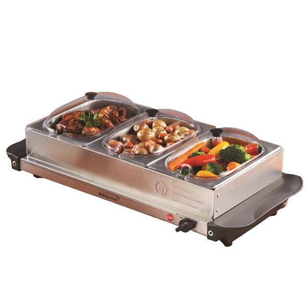 Brentwood 3 Pan Buffet Server Warming Tray