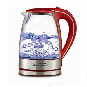 Brentwood 1.7L Cordless Glass Electric Kettle - Red