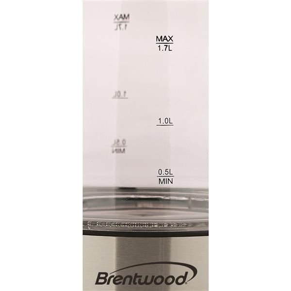Brentwood 1.7L Cordless Glass Electric Kettle - Black