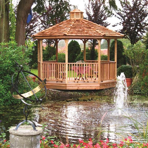 Pavillon de jardin, panneaux octogonaux, 14 pieds, cèdre