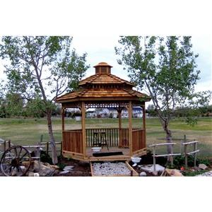 Cedarshed Hexagonal Gazebo - 2-Tier - 8' - Red Cedar