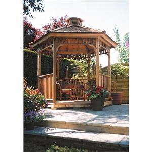 Pavillon de jardin hexagonal, 8 pieds, cèdre