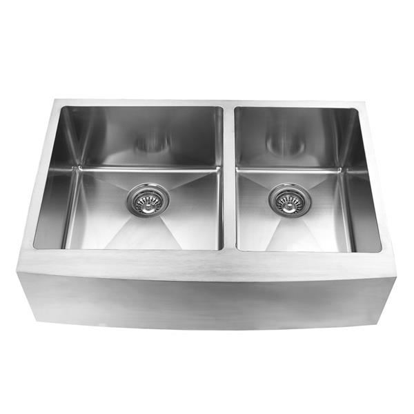 Elegant Stainless Farmhouse/Apron Double Kitchen Sink - 33-in- Stainless Steel