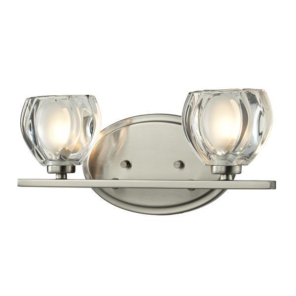 Applique pour salle de bain Hale, 2 lumières, nickel brossé